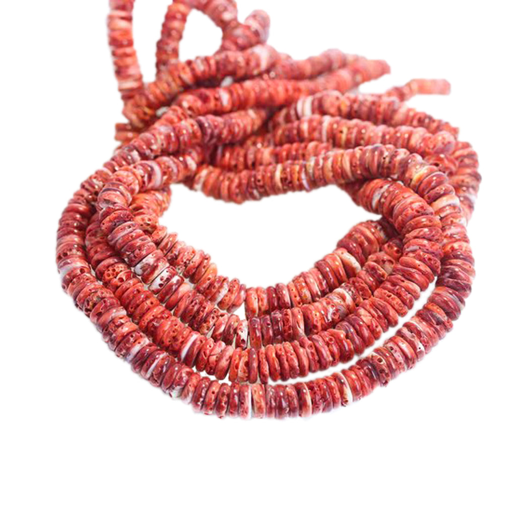RED SPINY OYSTER Beads Graduated Buttons 5-10mm 21""
