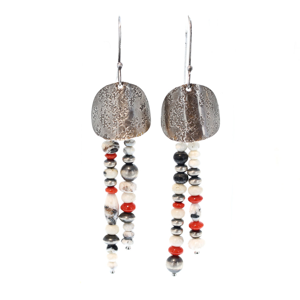 White Buffalo and Genuine Coral Earrings Southwest Elegance