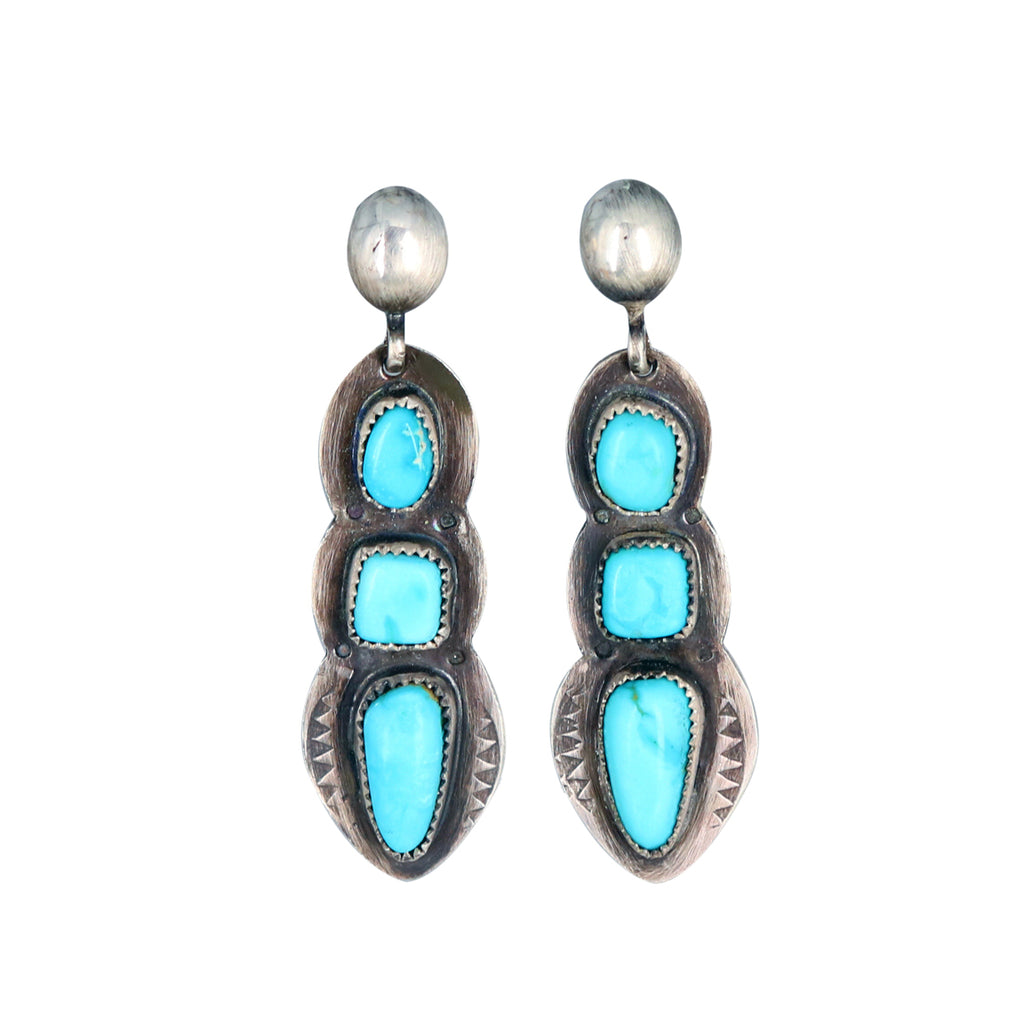 BLUE BIRD Nevada Turquoise 3 Stone Earrings Boho Southwest