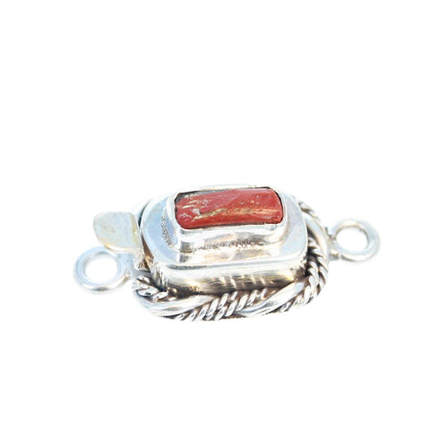 ANTIQUE ROMAN GLASS Sterling Silver Clasp Twist Wire Brick Red