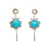 VIVID BLUE Mexican Nacozari Turquoise Earrings Scroll Design Dangle