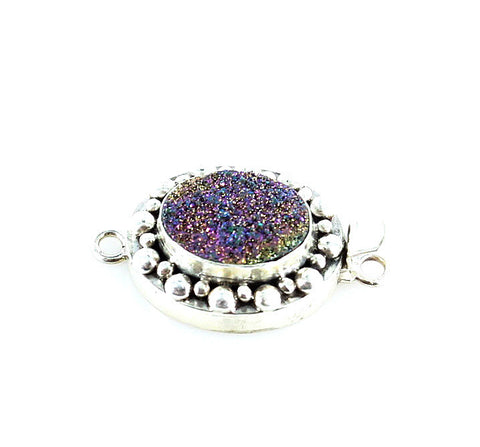 Multi Color Purple Drusy Sterling Clasp Oval Large 16x12mm - New World Gems - 1