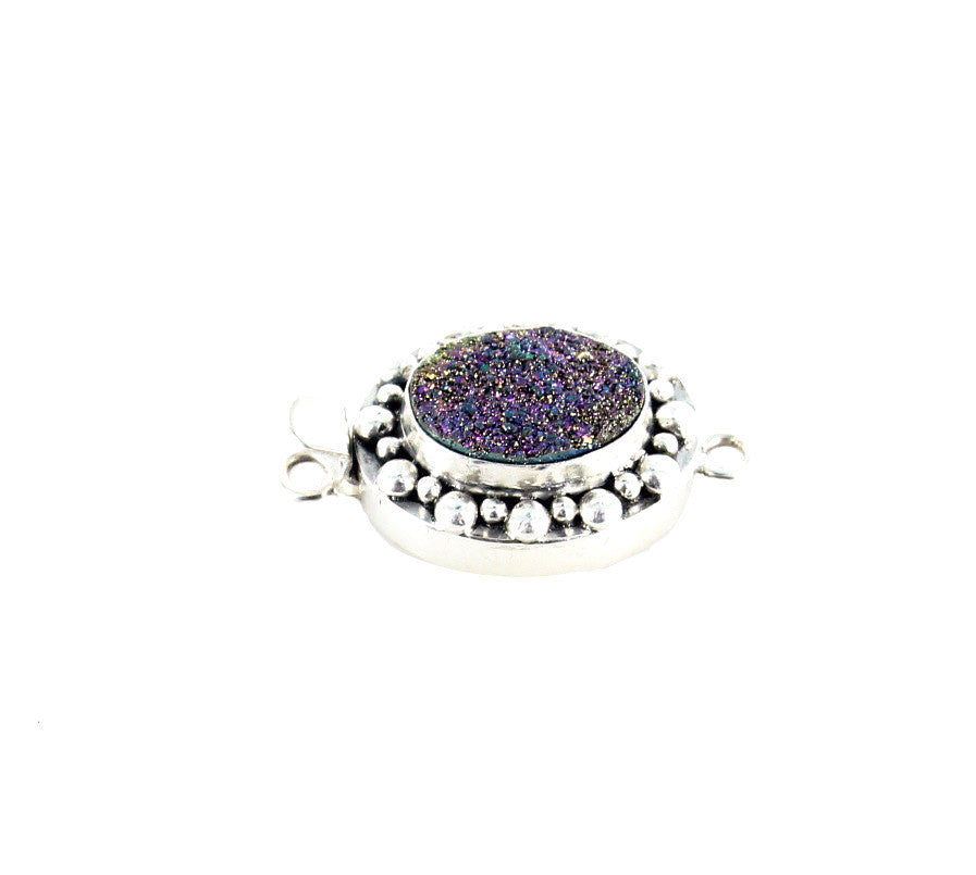 Multi Color Purple Drusy Sterling Clasp Oval Large 16x12mm - New World Gems - 2