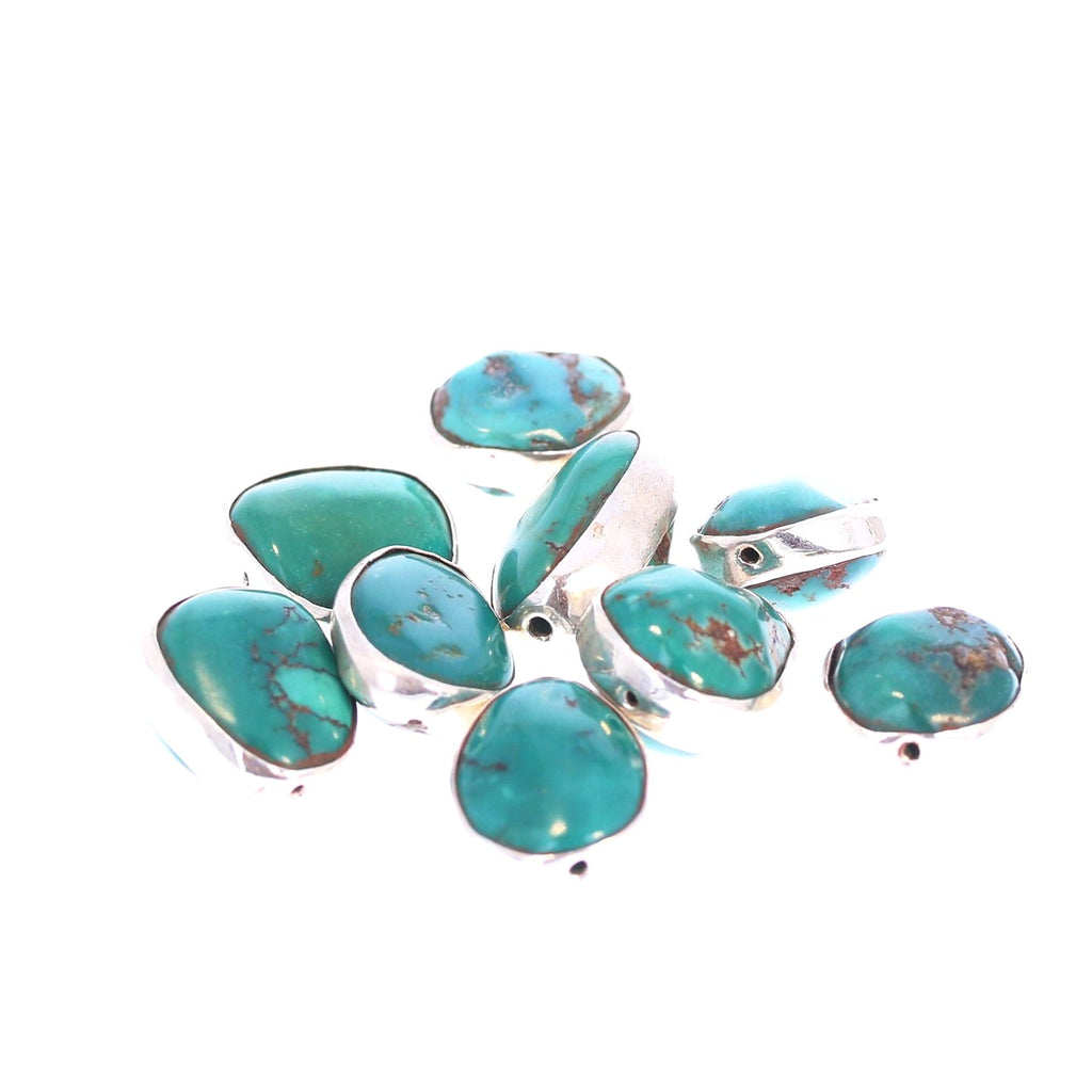 Sterling Rimmed Turquoise Beads Emerald Green 7 Pcs