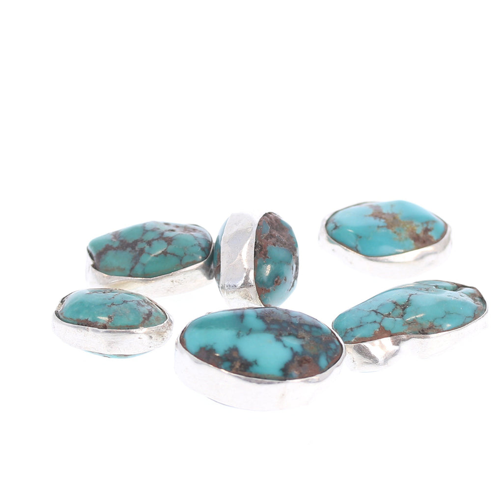 Sterling Rimmed Turquoise Beads Teal Blue 7 Pcs