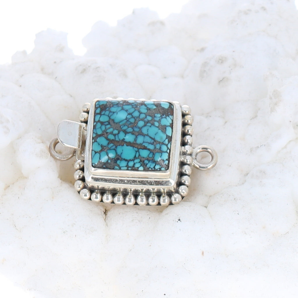 Turquoise Clasp 13.5mm Square Blue Matrix