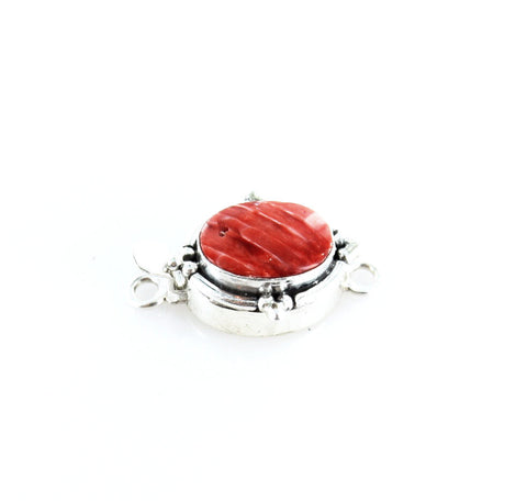 SPINY OYSTER CLASP Red Orange Oval 14x11mm Southwest Style - New World Gems