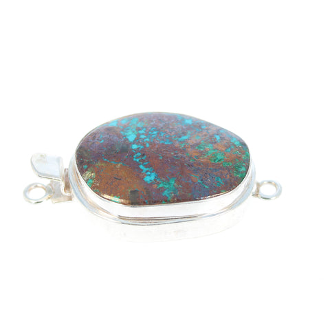 CHRYSOCOLLA CUPRITE CLASP Sterling Large Shapes