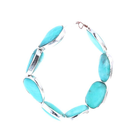 STERLING SILVER RIMMED Amazonite Beads Large 8 Pcs