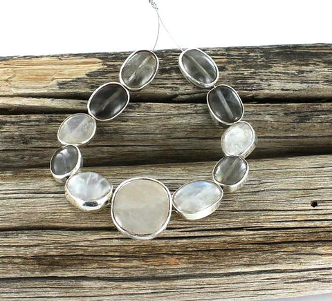 Sterling Silver Rimmed MOONSTONE BEADS 11Pcs - New World Gems