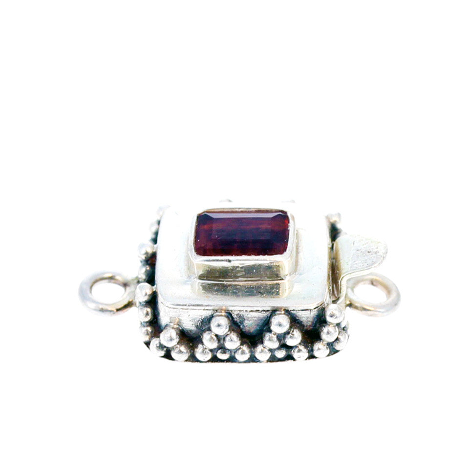 Faceted Garnet Clasp Sterling Granulated Cushion
