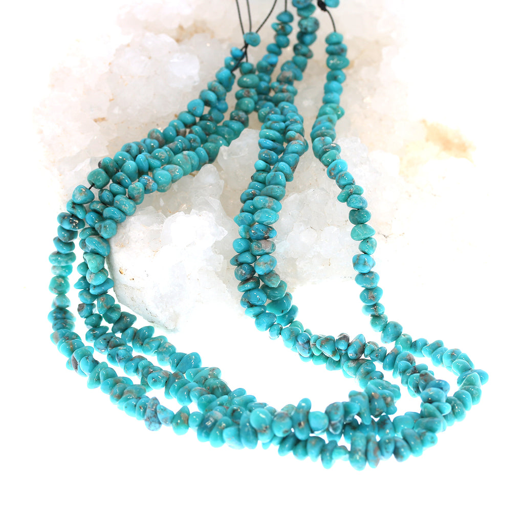 MEXICAN CAMPITOS TURQUOISE Beads Deep Teal with Pyrite