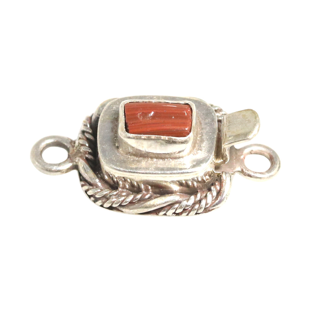 ANTIQUE ROMAN GLASS Sterling Silver Clasp Twist Wire Brick Red Small