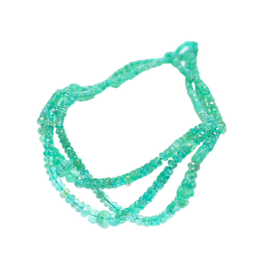 AAA Genuine EMERALD BEADS Faceted Rondelles 2.7-6mm 18""