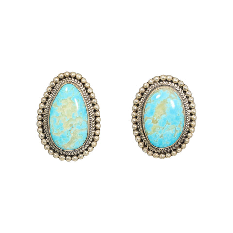 KINGMAN TURQUOISE EARRINGS Large Assymetric Post Style