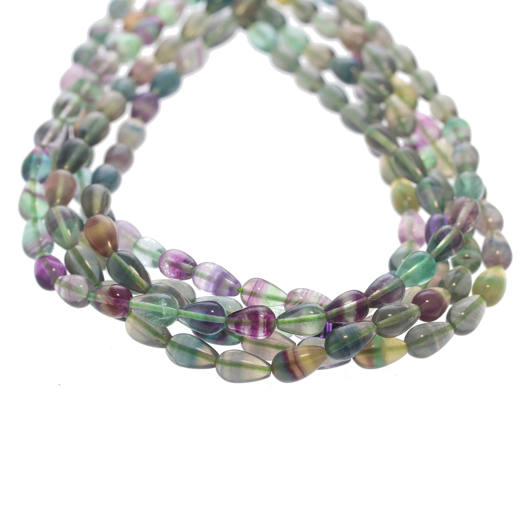 "Multi Color FLUORITE BEADS Teardrop Shape 16"" 13x8mm"