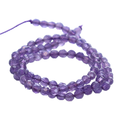 AMETHYST ROUND BEADS FACETED 4mm 16""
