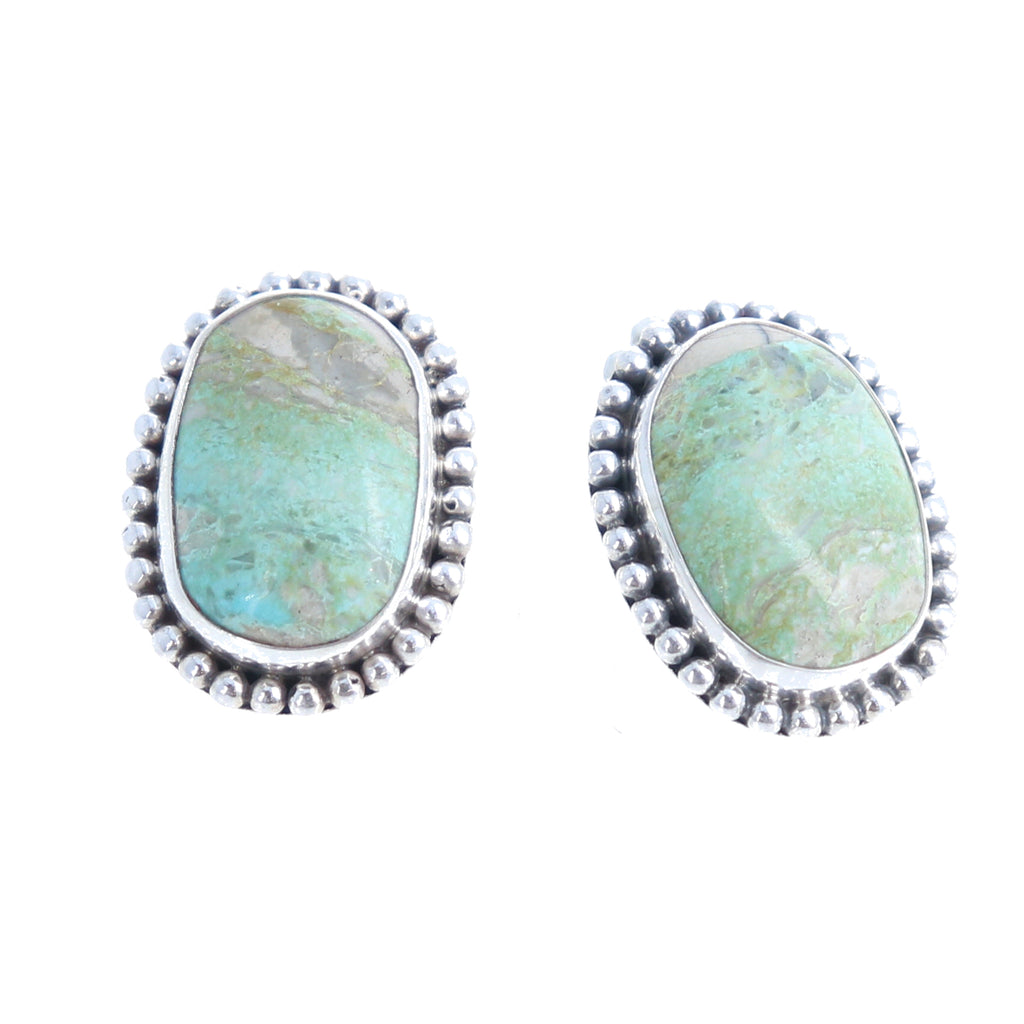 ROYSTON TURQUOISE Earrings Posts Large Ovals Mint Green