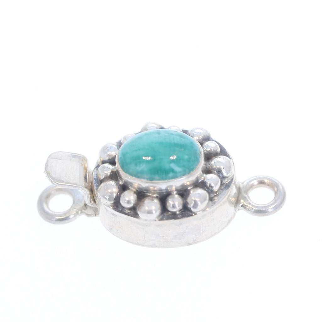 Russian Amazonite Sterling Oval Clasp Granulated 6x8mm