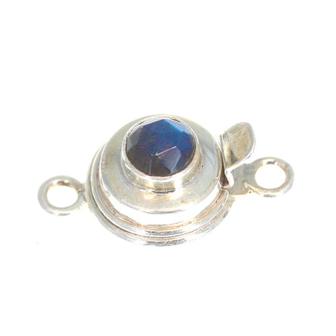 LABRADORITE CLASP Classic Design Faceted Rose Cut Blue Black 6mm
