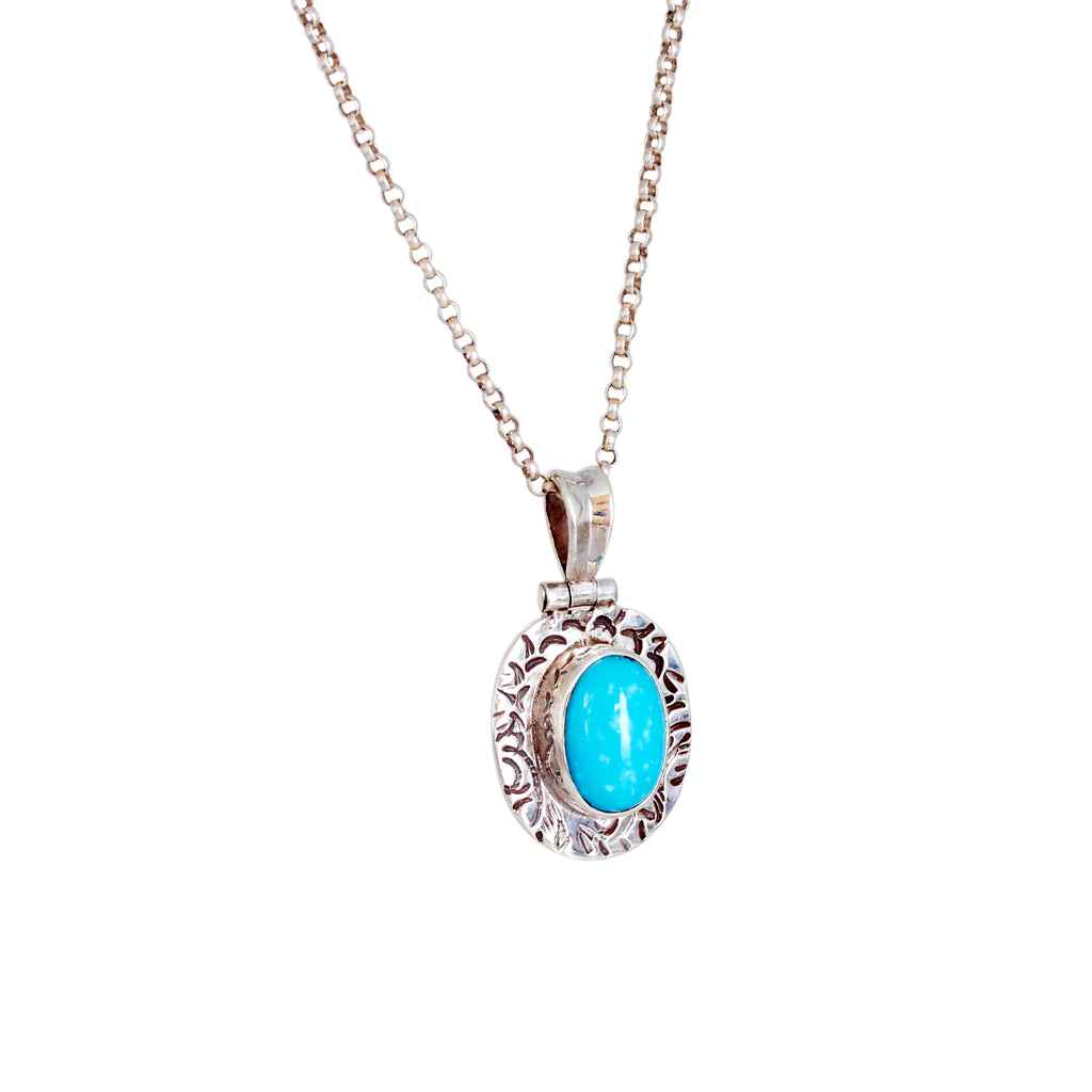 AAA PERSIAN TURQUOISE Pendant Necklace Sterling Etched 18""