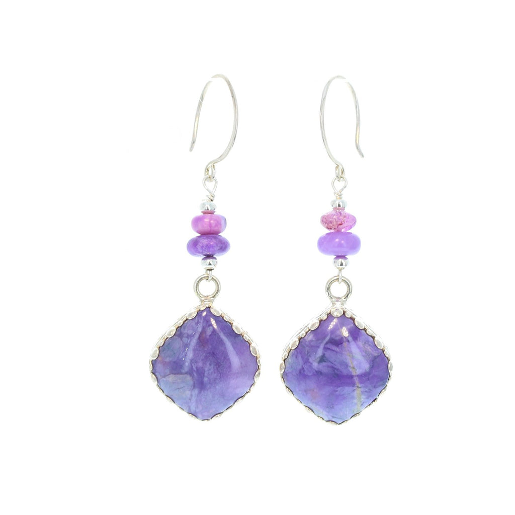 SUGILITE EARRINGS Kite Shaped Bezel and Beads Sterling