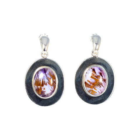 Amethyst Cacoxenite Earrings Sterling Super 7 Sterling