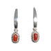 Italian Red Coral Earrings Long Hoops Dangle Earrings