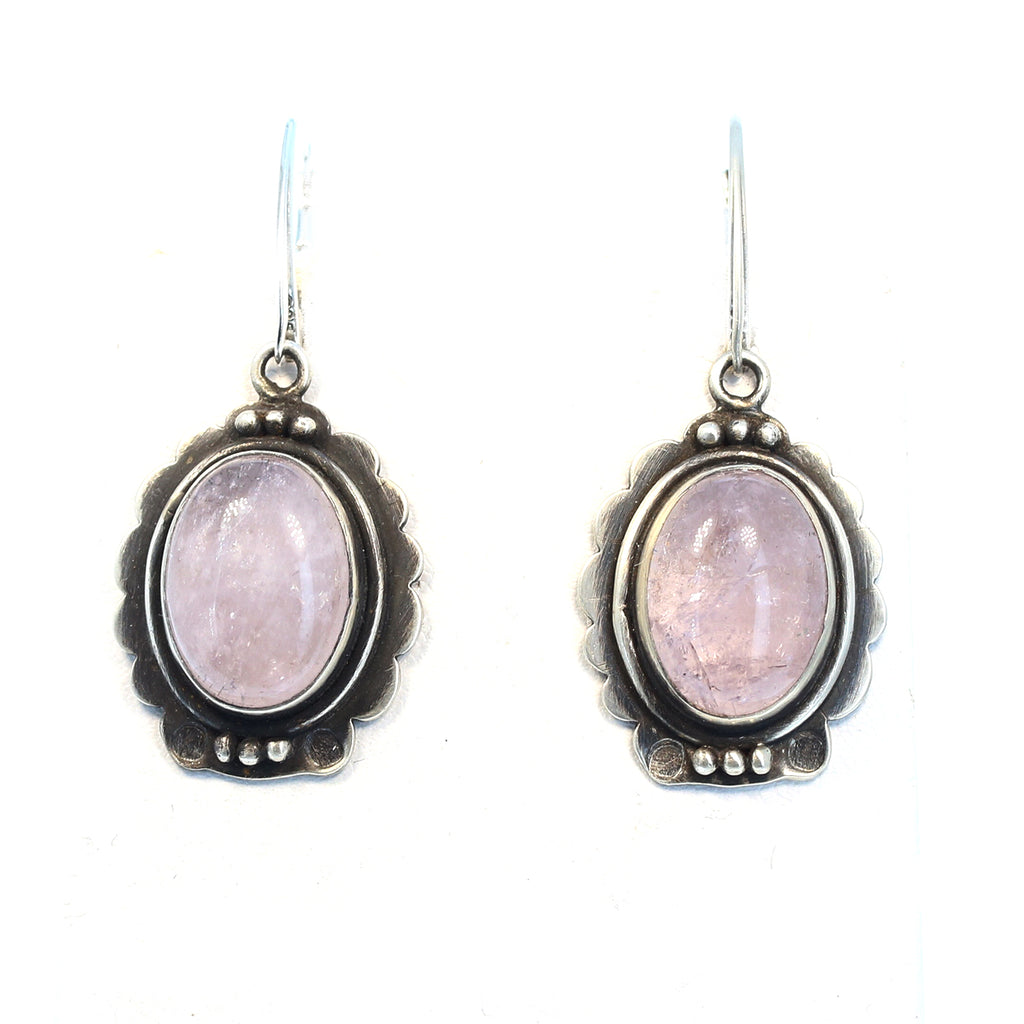 Pink Morganite Earrings Oxidized Sterling Silver 1.5""