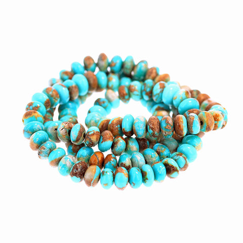FOX TURQUOISE BEADS 6mm Blue Golden Rondelle 18""