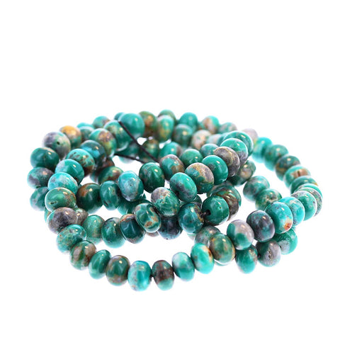 FOX TURQUOISE BEADS 6mm Emerald Green Rondelle 8""