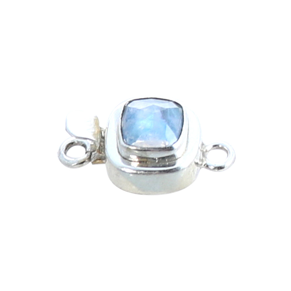 RAINBOW MOONSTONE Clasp Faceted Cushion Sterling