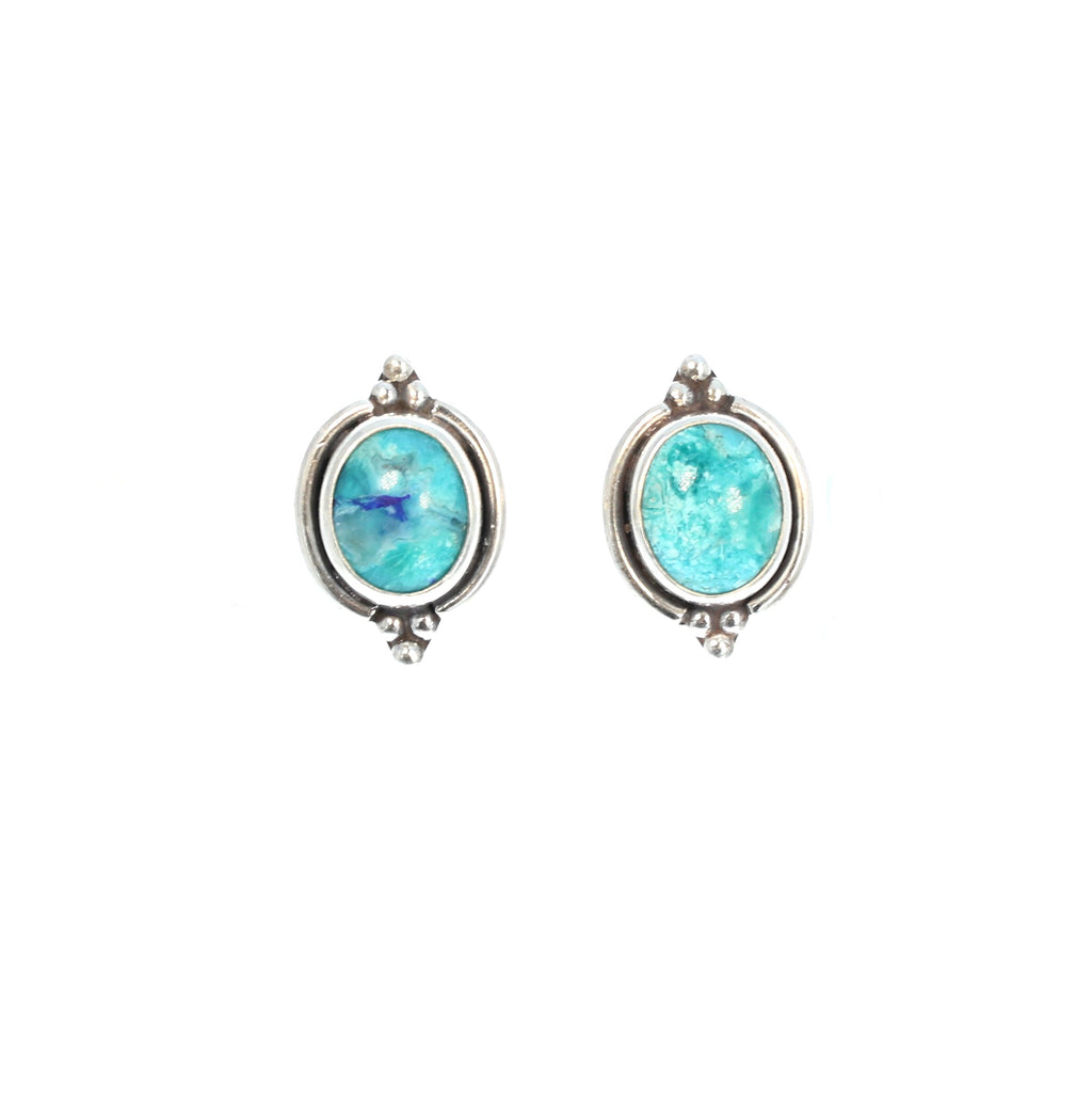 CHRYSOCOLLA Earrings Oval 8x10mm Post Style Studs