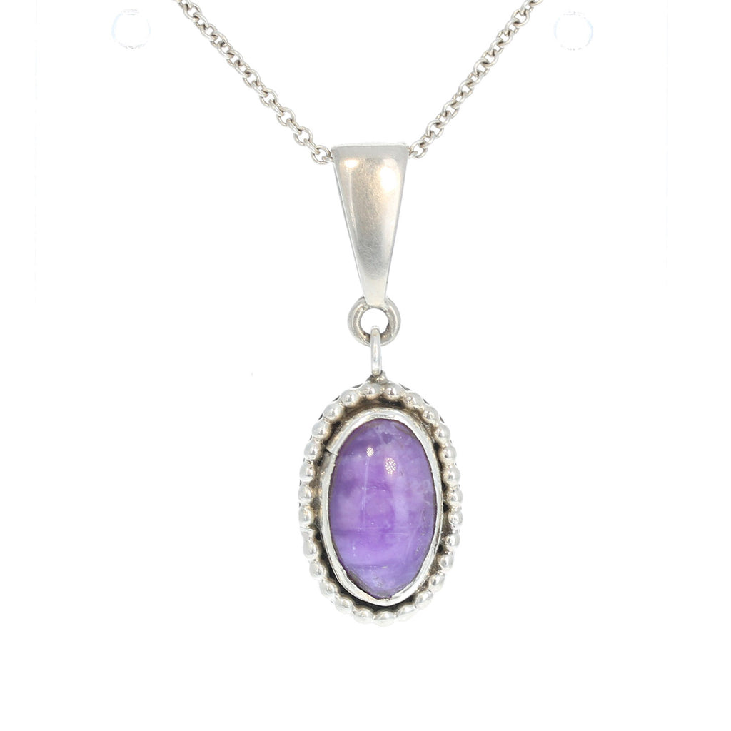 SUGILITE PENDANT Sterling Silver Oval 16""
