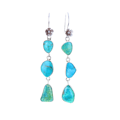 Ocean Blues Turquoise Earrings 3-Stone Sterling Dazzlers