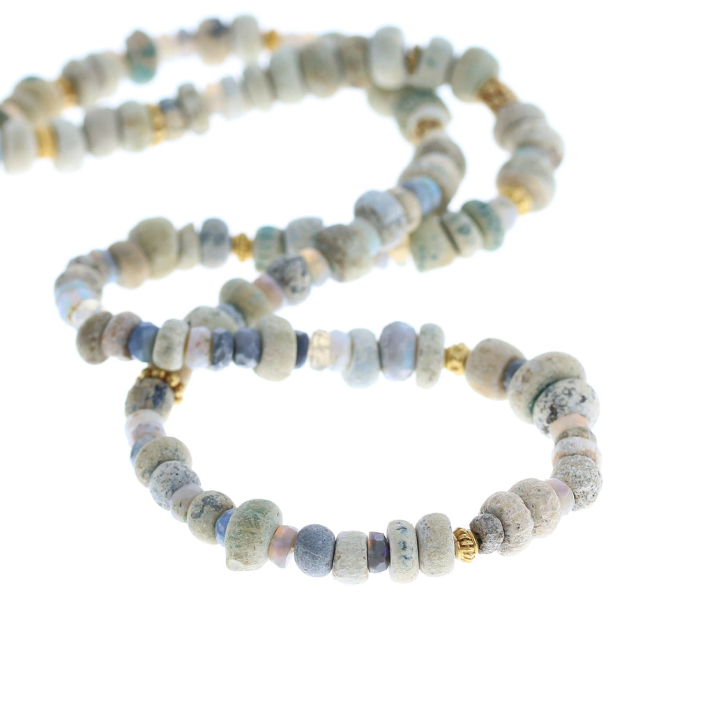 ANCIENT MALI Beads Necklace with Opals and 18K Gold