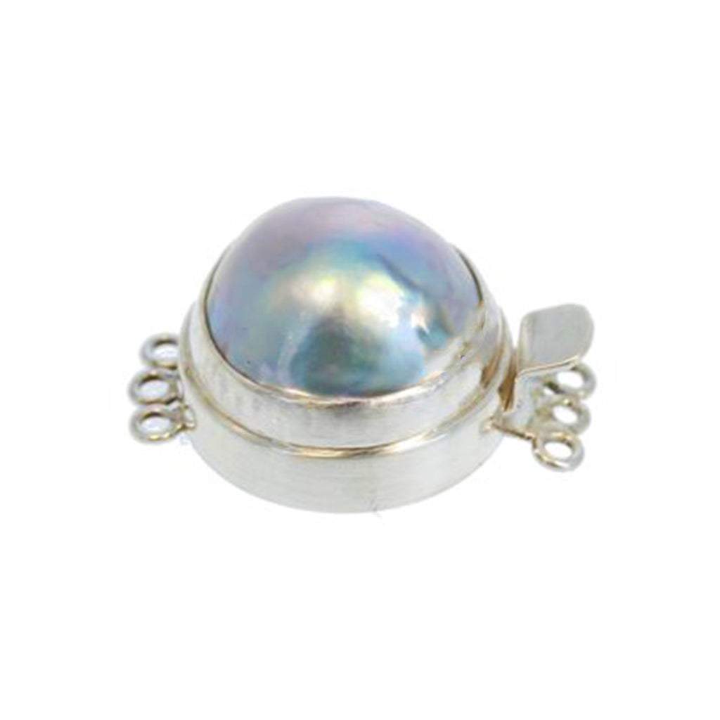 MABE PEARL CLASP Ball Design 18mm Silver Grey 3 Strand