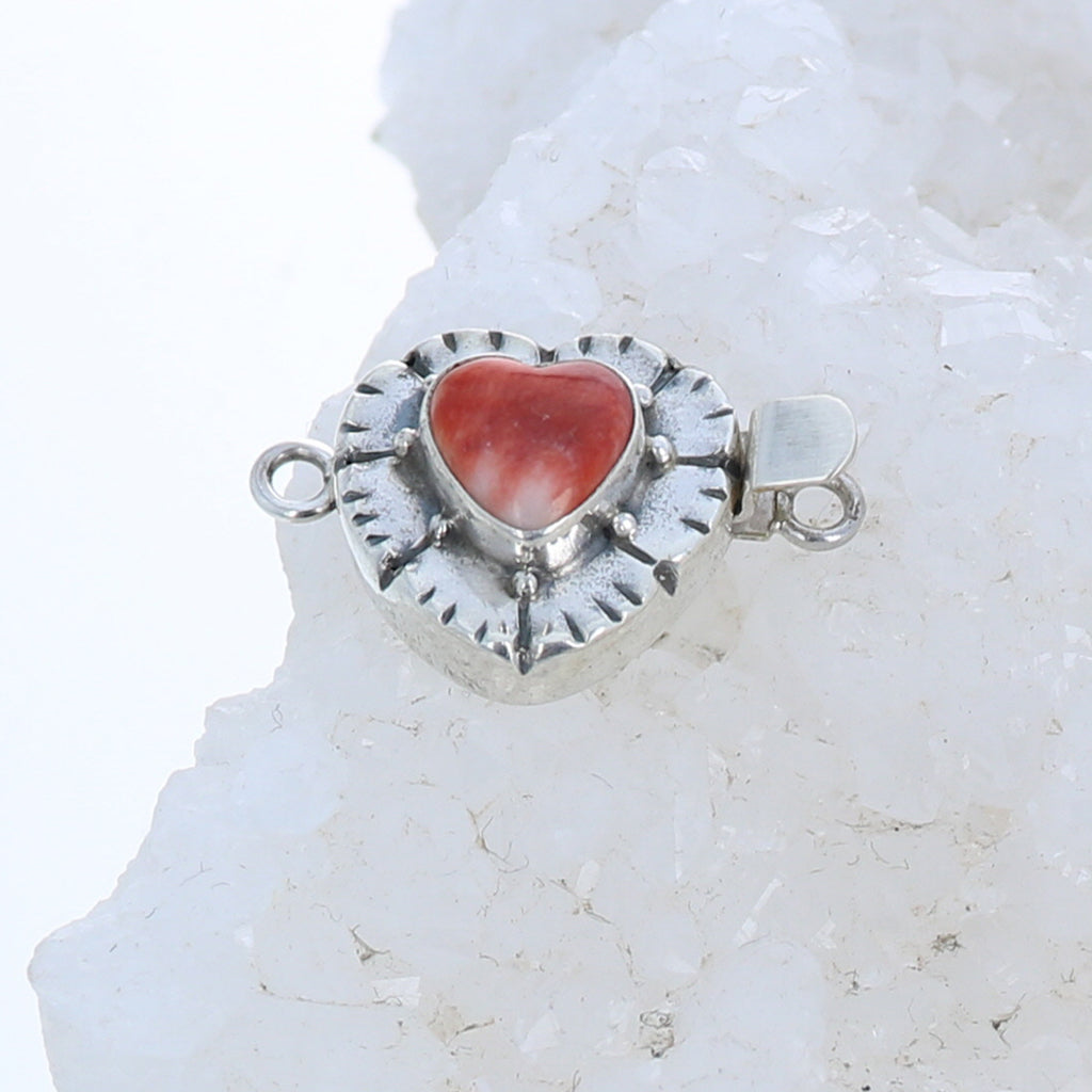 SPINY OYSTER Clasp Sterling Heart Shaped Southwest Detail