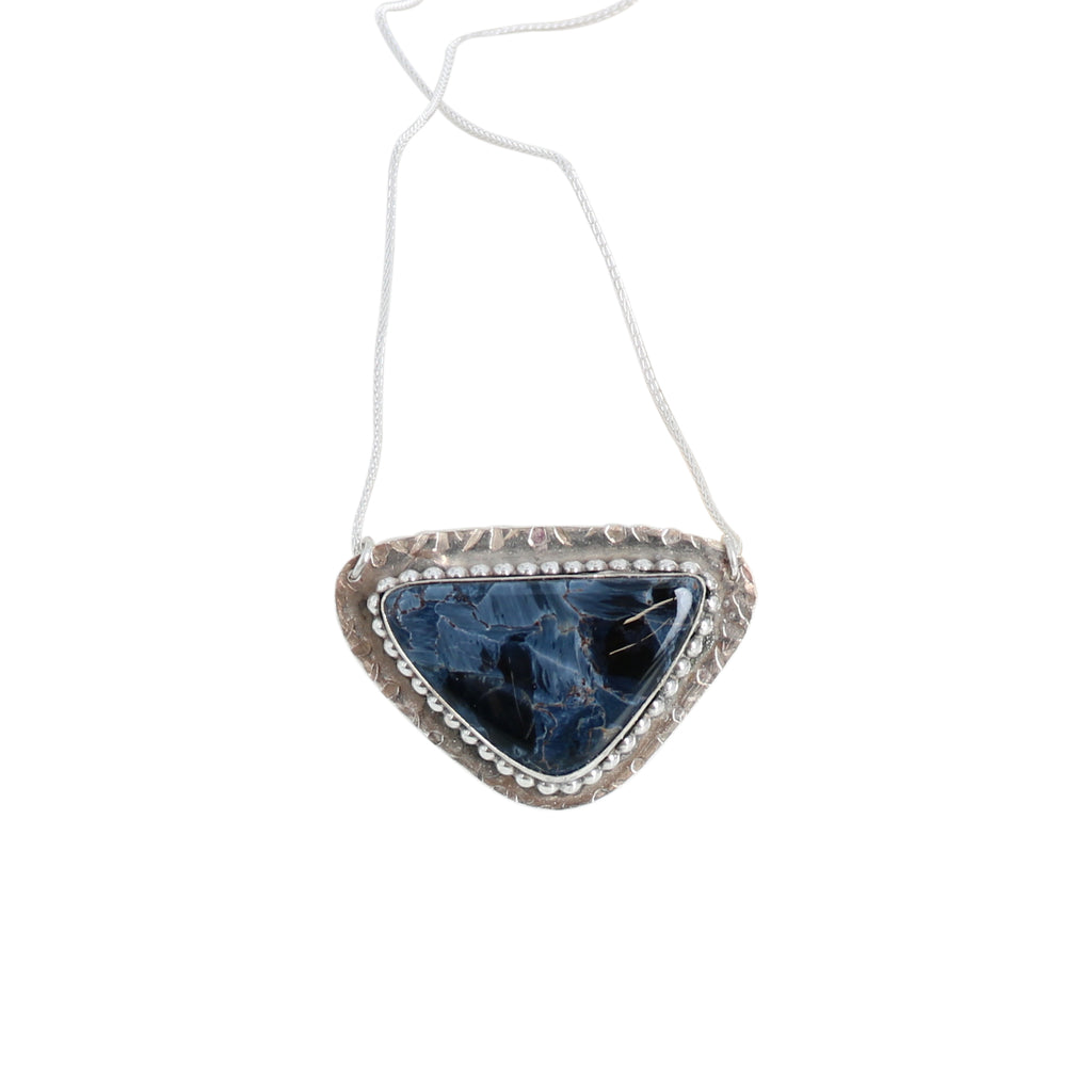 BLUE PIETERSITE PENDANT Sterling Silver Textured Unique