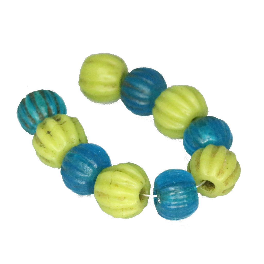 ANTIQUE PEKING GLASS MELON BEADS BLUE and GREEN 10 Pcs
