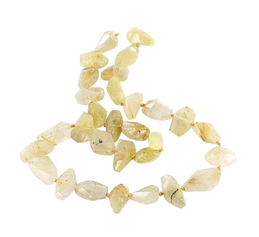 GOLD RUTILATED QUARTZ Beads Faceted Nuggets