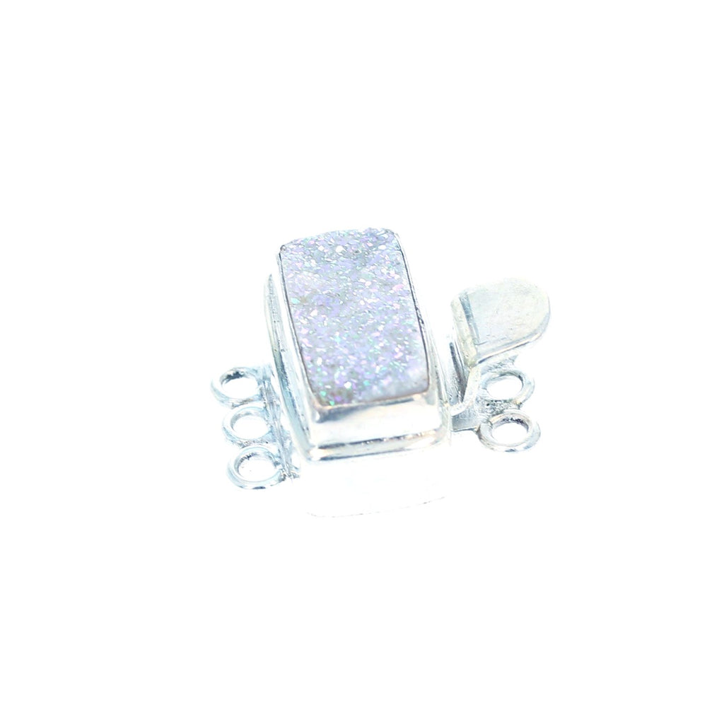 White/Pink DRUSY QUARTZ Clasp Sterling 3 Strand