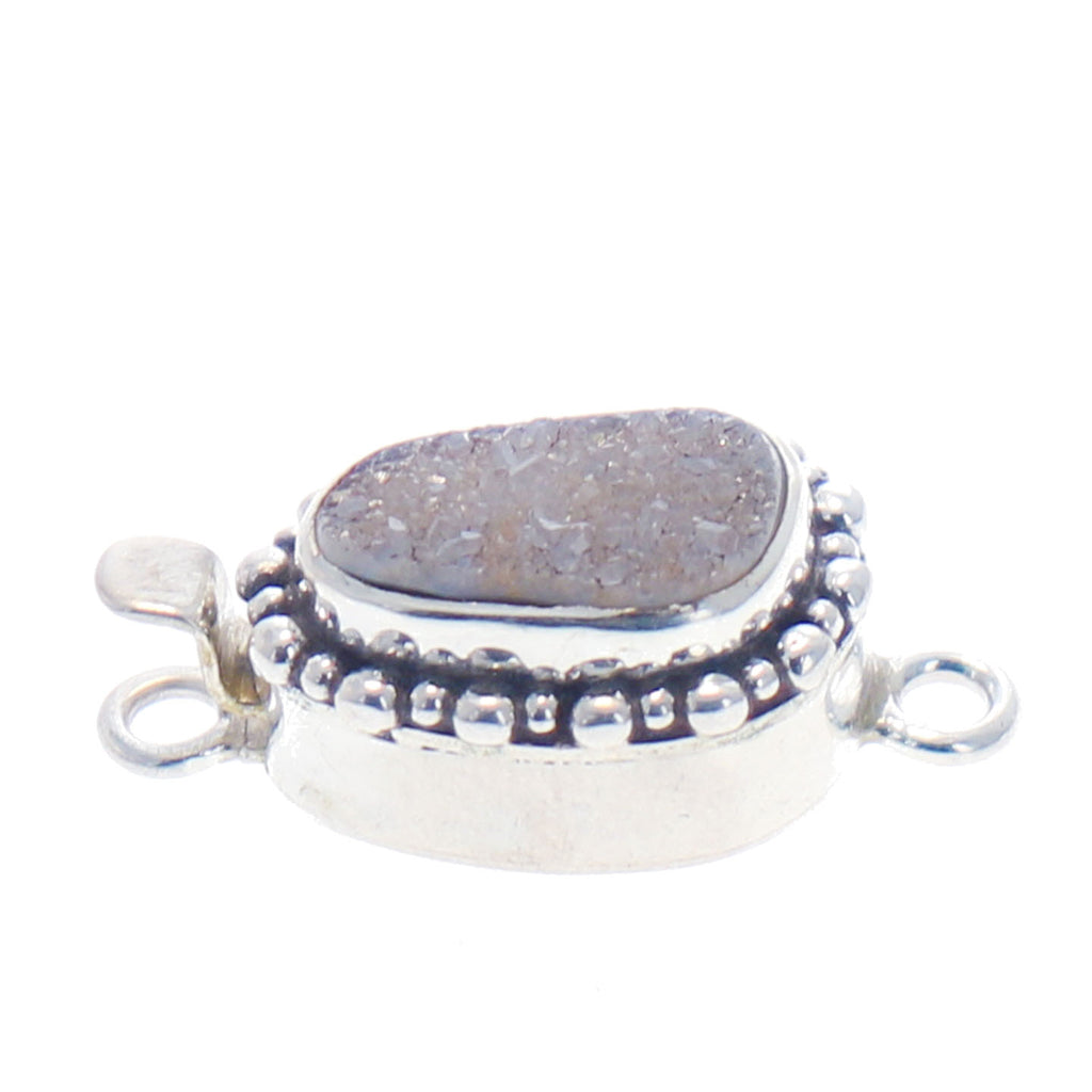 DRUSY QUARTZ GEODE Clasp Sterling Silver Gray Color