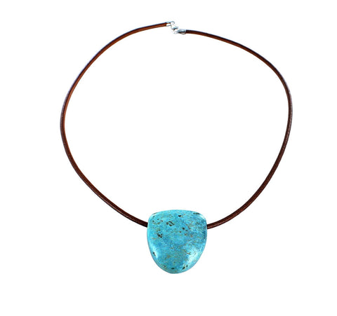 "TURQUOISE SHIELD SHAPED PENDANT NECKLACE AQUA 16"" - New World Gems - 1"