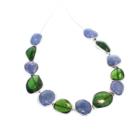 Sterling Silver Rimmed Chrome Diopside and Tanzanite Beads