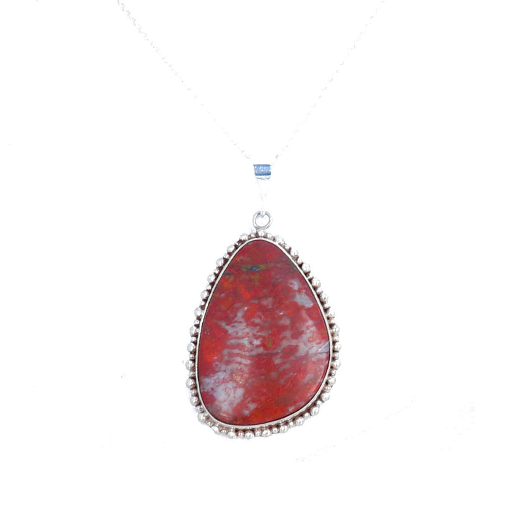Sonoran Sunrise Cuprite Pendant Large Red Earthy Sterling 18""