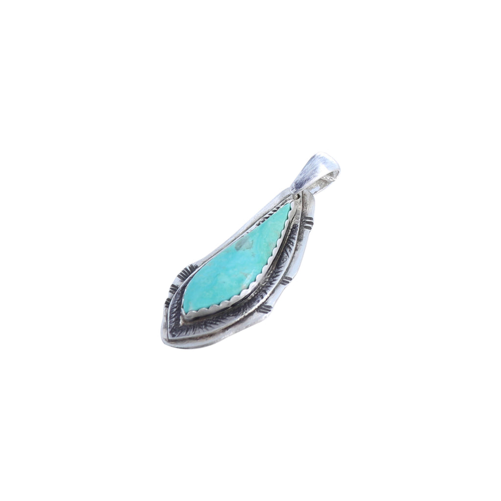 TURQUOISE FEATHER Pendant Aqua Green Mexican