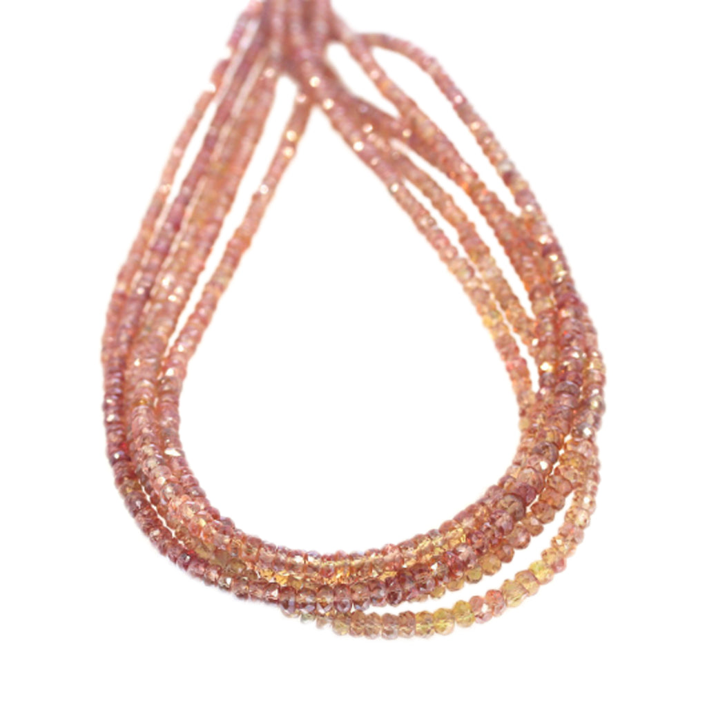 GENUINE SAPPHIRE FACETED RONDELLE BEADS Bronze Spice 3-4mm