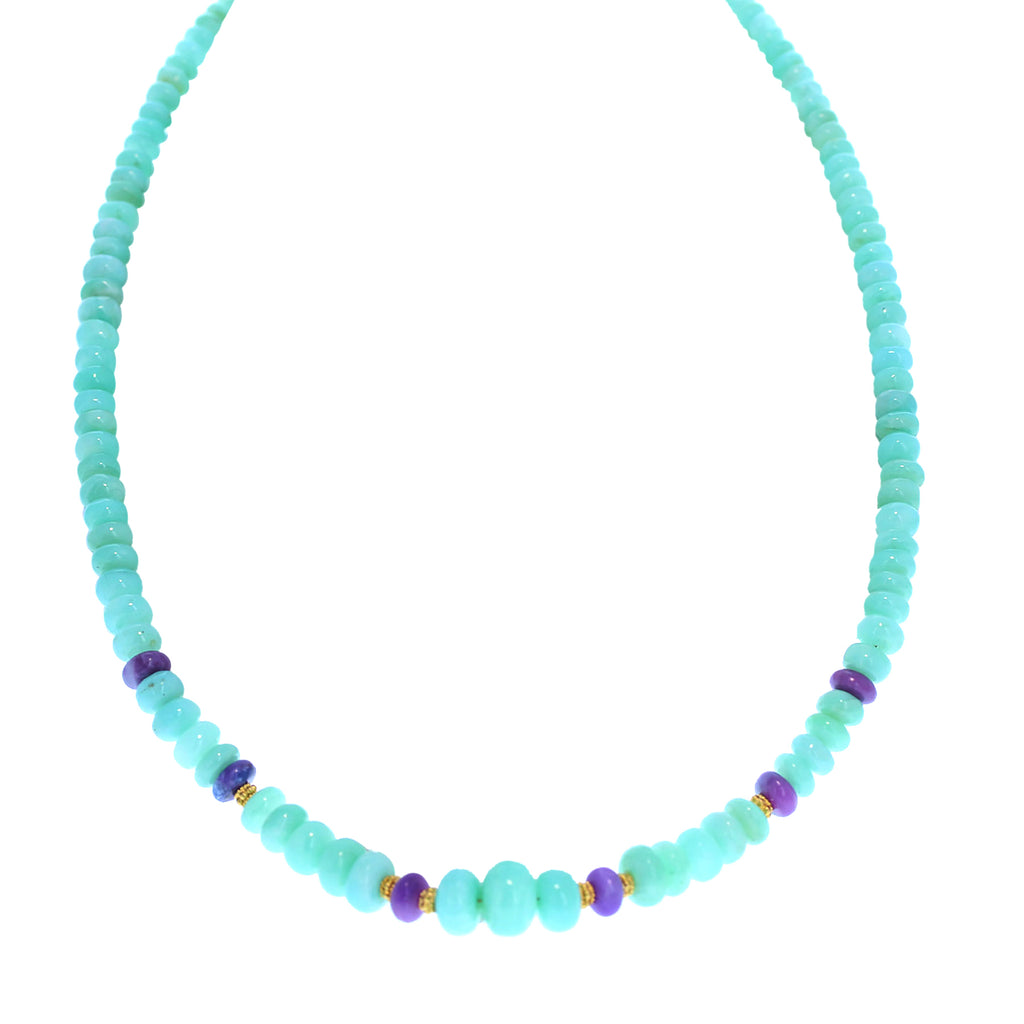 AAA PERUVIAN OPAL Necklace 18K Gold Sugilite 5-11mm