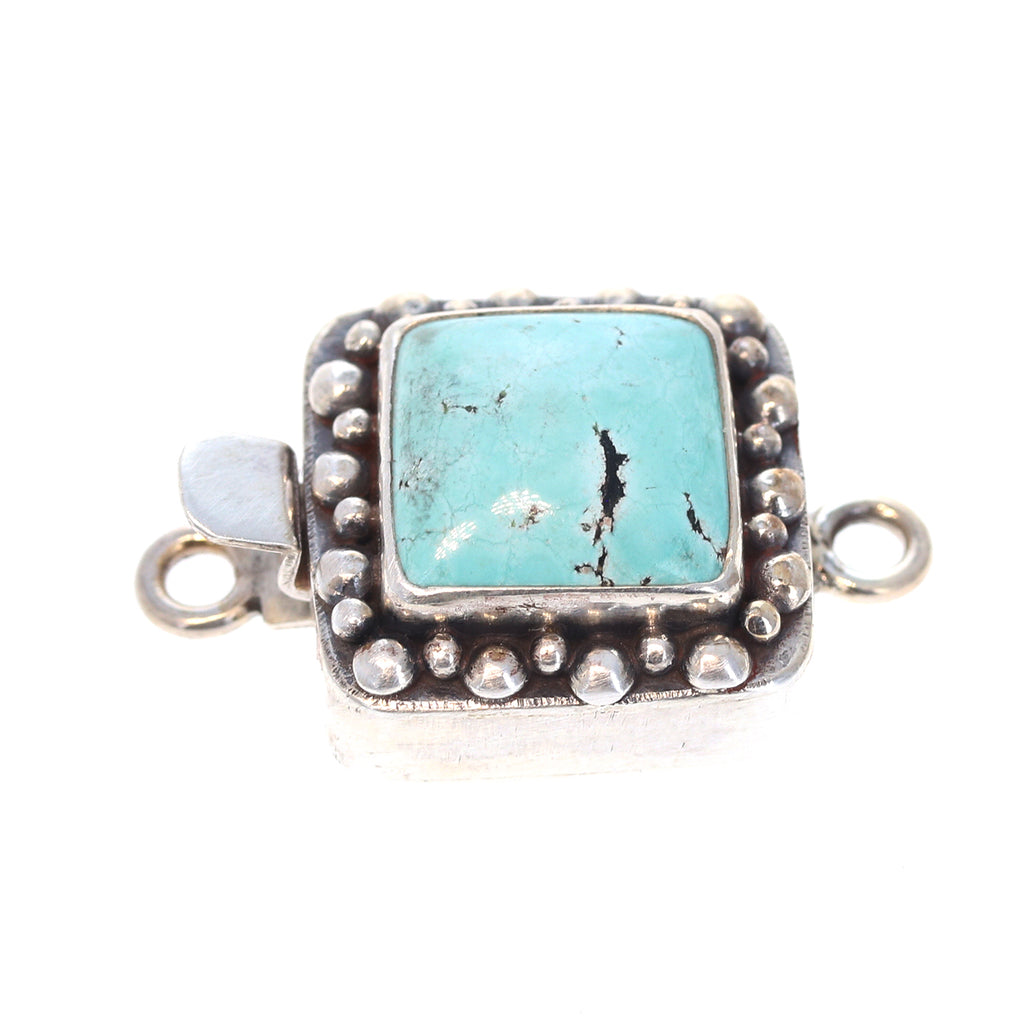 CHINESE TURQUOISE CLASP STERLING CUSHION 13mm